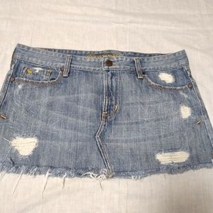 Abercrombie and Fitch Distressed Denim Mini Skirt